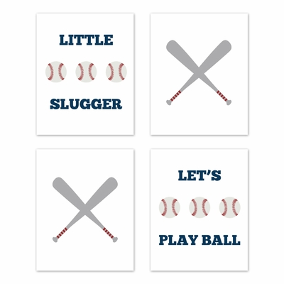 Baseball Patch Collection Wall Art Prints - Set of 4