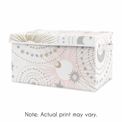 Blush Pink, Gold and Grey Star and Moon Girl Baby Nursery or Kids Room Small Fabric Toy Bin Storage Box Chest for Celestial Collection by Sweet Jojo Designs