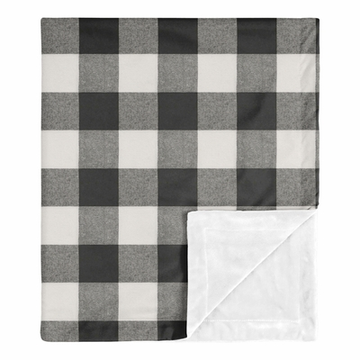 Buffalo Check Black and White Baby Blanket