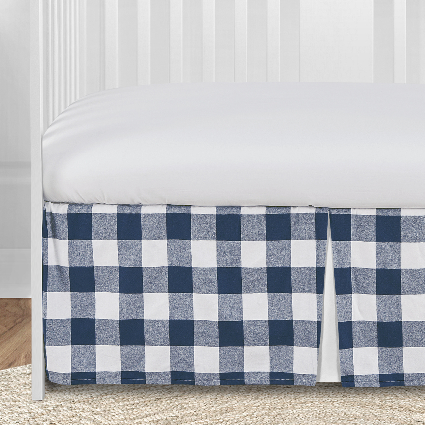 Carousel Designs Navy and White Buffalo Check Toddler Bed Comforter
