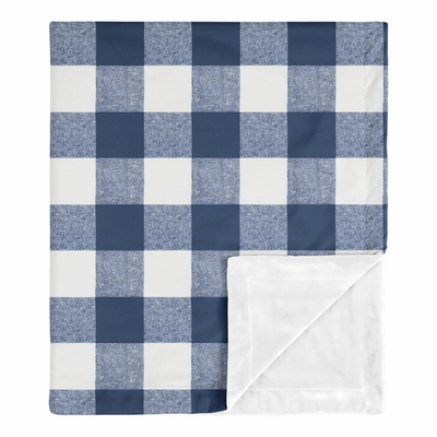 Buffalo Check Navy Blue and White Baby Blanket
