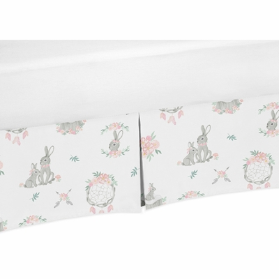 Bunny Floral Collection Crib Bed Skirt