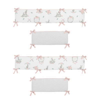 Bunny Floral Collection Crib Bumper Pad