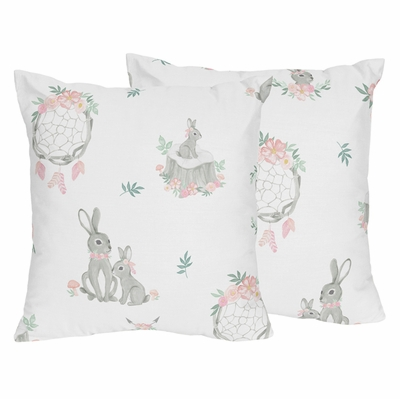 Bunny Floral Collection Decorative Accent Throw Pillows - Set of 2