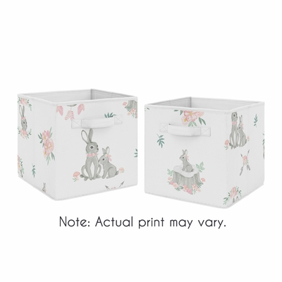 Bunny Floral Collection Foldable Fabric Storage Bins