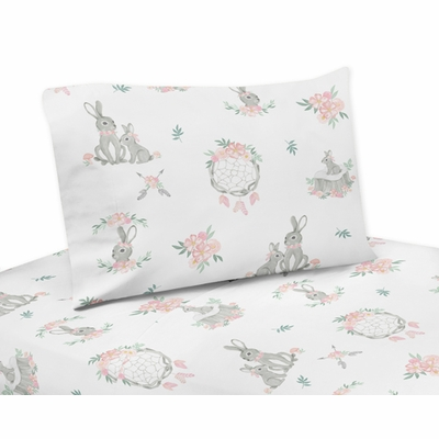 Bunny Floral Collection Twin Sheet Set