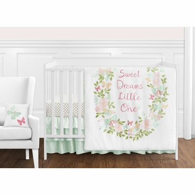 Butterfly Floral Collection 11 Piece Bumperless Crib Bedding