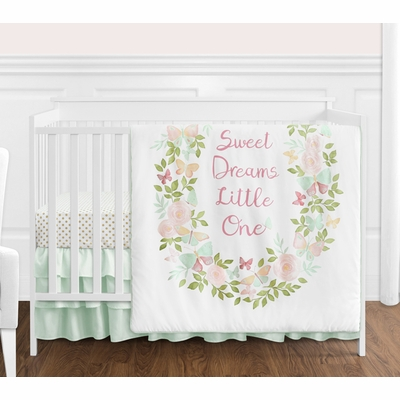 Butterfly Floral Collection 4 Piece Bumperless Crib Bedding