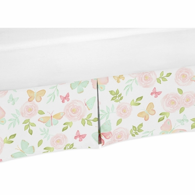 Butterfly Floral Collection Crib Bed Skirt