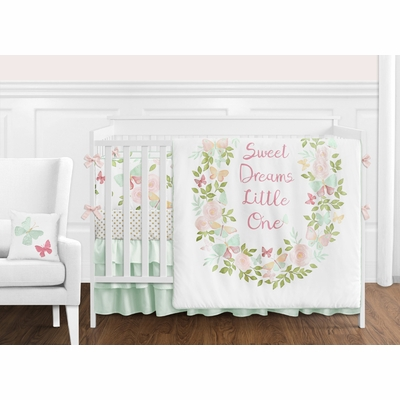 Butterfly Floral Collection Crib Bedding