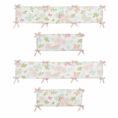 Butterfly Floral Collection Crib Bumper Pad