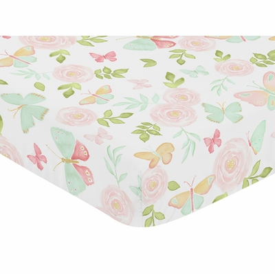 Butterfly Floral Collection Crib Sheet