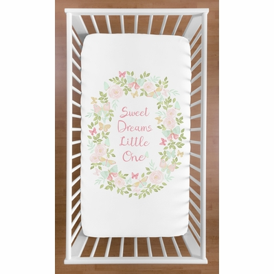 Butterfly Floral Collection Crib Sheet - Sweet Dreams