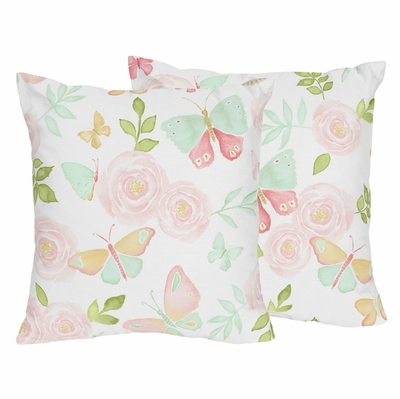 Butterfly Floral Collection Decorative Accent Throw Pillows - Set of 2