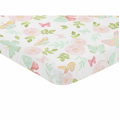 Butterfly Floral Collection Mini Crib Sheet