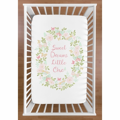 Butterfly Floral Collection Mini Crib Sheet - Sweet Dreams
