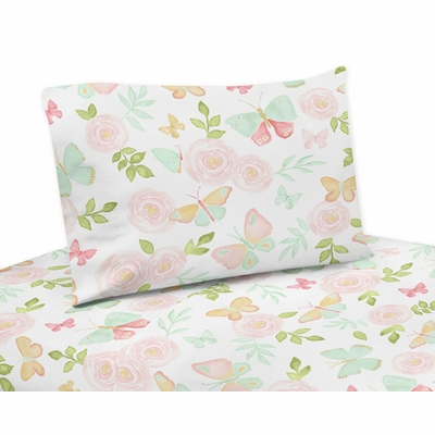 Butterfly Floral Collection Twin Sheet Set