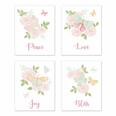 Butterfly Floral Collection Wall Art Prints - Set of 4