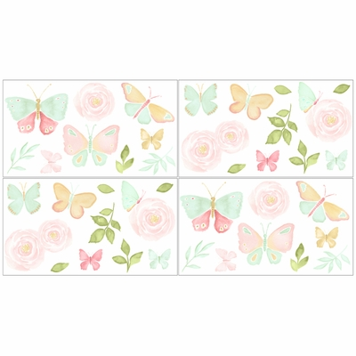 Butterfly Floral Collection Peel and Stick Wall Decal Stickers - Set of 4 Sheets