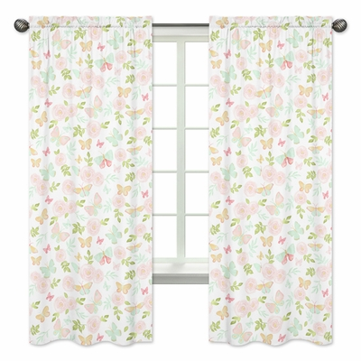 Butterfly Floral Collection Window Panels - Set of 2