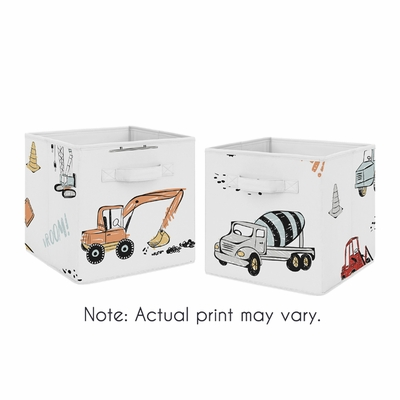 Construction Truck Collection Foldable Fabric Storage Bins