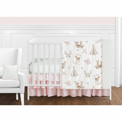 Deer Floral Collection 11 Piece Bumperless Crib Bedding