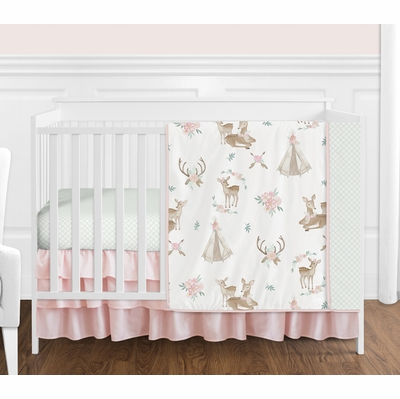 Deer Floral Collection 4 Piece Bumperless Crib Bedding