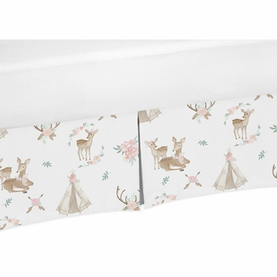 Deer Floral Collection Crib Bed Skirt