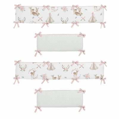 Deer Floral Collection Crib Bumper Pad