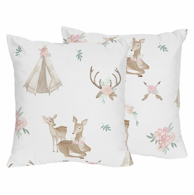 Deer Floral Collection Decorative Accent Throw Pillows - Set of 2