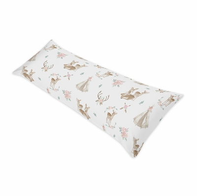 Deer Floral Collection Full Length Body Pillow Cover