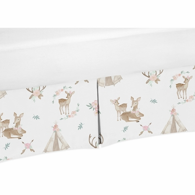Deer Floral Collection Queen Bed Skirt