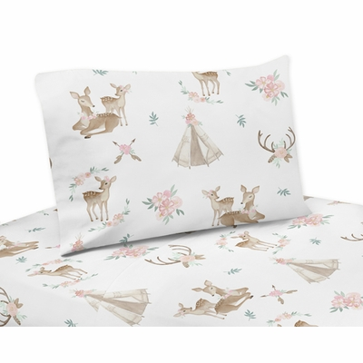 Deer Floral Collection Queen Sheet Set