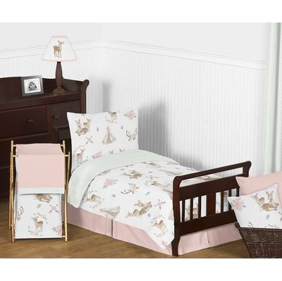 Deer Floral Collection Toddler Bedding