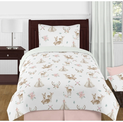 Deer Floral Collection Twin Bedding
