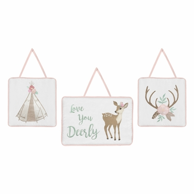 Deer Floral Collection Wall Hangings