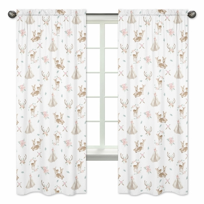 Deer Floral Collection Window Panels - Set of 2