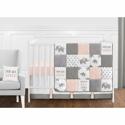 Elephant Grey and Blush Pink Collection 11 Piece Bumperless Crib Bedding
