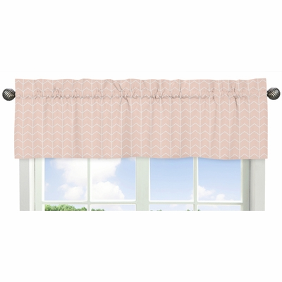 Elephant Grey and Blush Pink Collection Chevron Arrow Window Valance