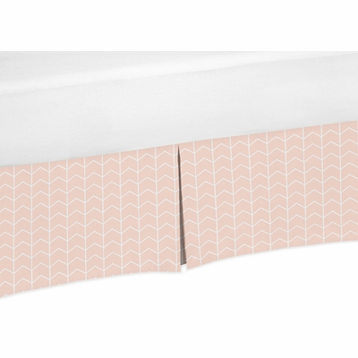 Elephant Grey and Blush Pink Collection Crib Bed Skirt