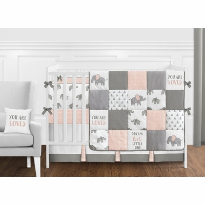 Elephant Grey and Blush Pink Collection Crib Bedding