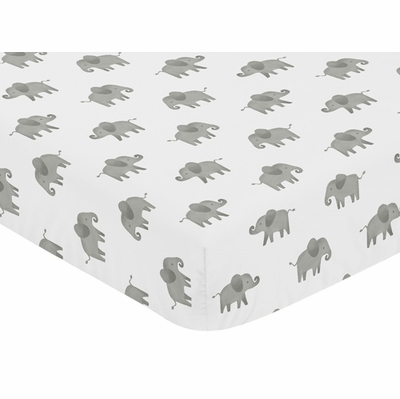 Elephant Grey and Blush Pink Collection Crib Sheet
