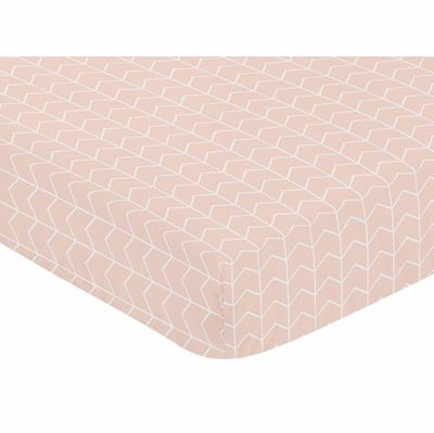Elephant Grey and Blush Pink Collection Crib Sheet - Chevron Arrow Print