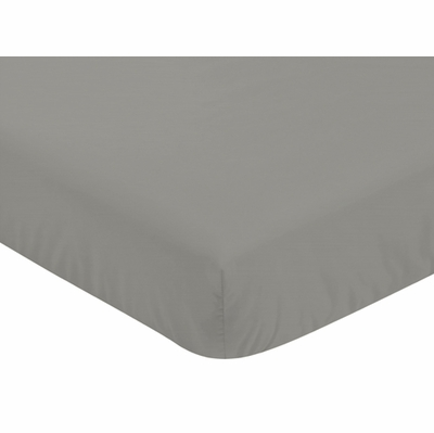 Elephant Grey and Blush Pink Collection Crib Sheet - Solid Grey