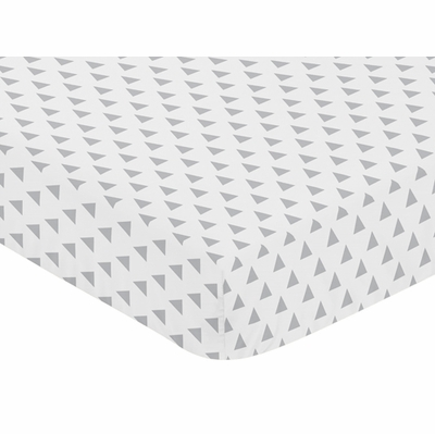 Elephant Grey and Blush Pink Collection Crib Sheet - Triangle Print