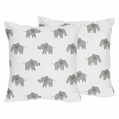 Elephant Grey and Blush Pink Collection Decorative Accent Throw Pillows - Set of 2