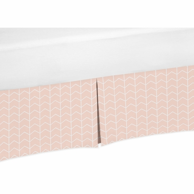 Elephant Grey and Blush Pink Collection Queen Bed Skirt