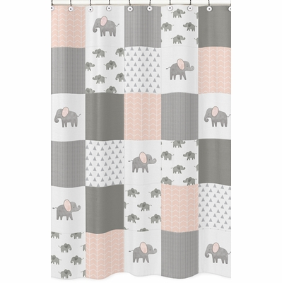 Elephant Grey and Blush Pink Collection Shower Curtain