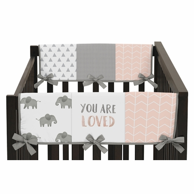 Elephant Grey and Blush Pink Collection Side Rail Guard Covers - Set of 2