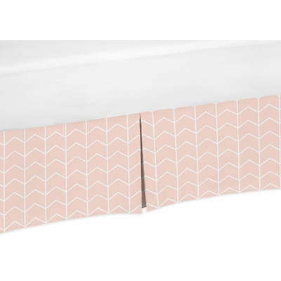 Elephant Grey and Blush Pink Collection Toddler Bed Skirt